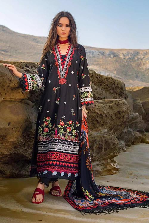Gul Ahmed 3 Piece Custom Stitched Suit - Black - LB16790