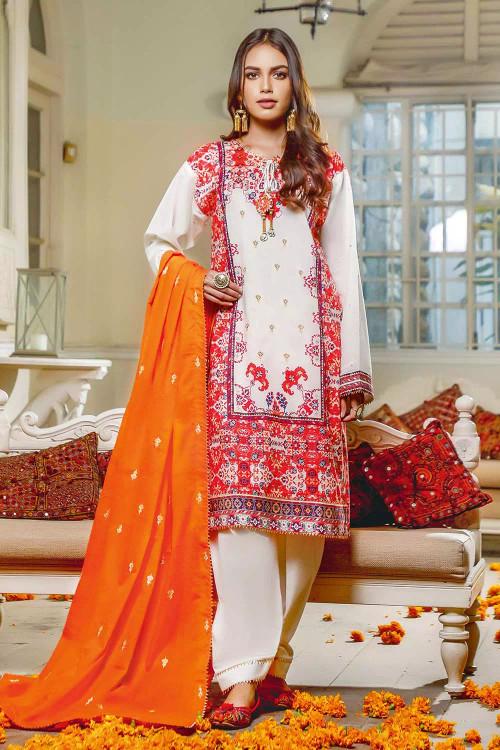 Gul Ahmed 3 Piece Custom Stitched Suit - Orange - LB16792