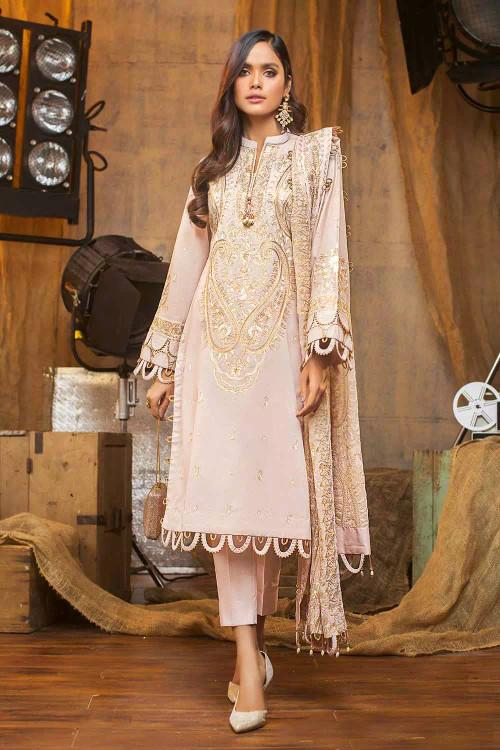 Gul Ahmed 3 Piece Custom Stitched Suit - Beige - LB16794