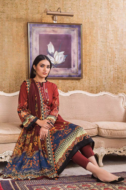 Gul Ahmed 3 Piece Custom Stitched Suit - Brown - LB16798