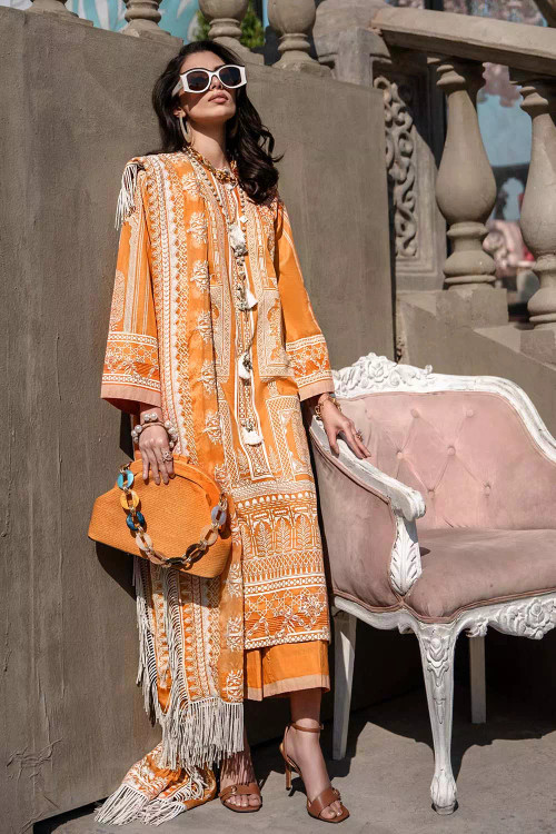 Gul Ahmed 3 Piece Custom Stitched Suit - Orange - LB16800