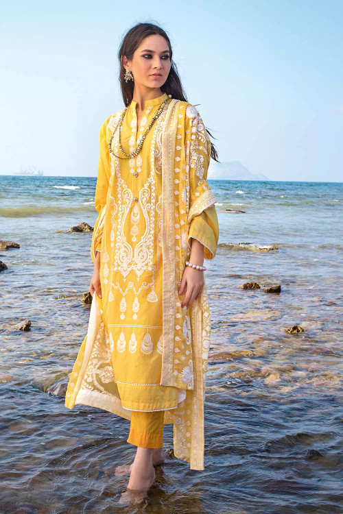 Gul Ahmed 3 Piece Custom Stitched Suit - Yellow - LB16801