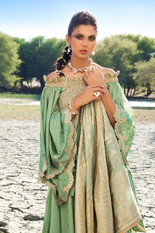 Gul Ahmed 3 Piece Custom Stitched Suit - Green - LB16803