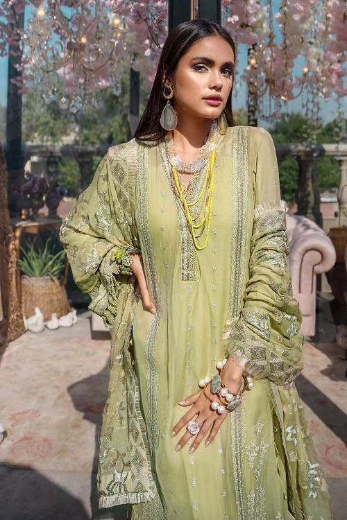 Gul Ahmed 3 Piece Custom Stitched Suit - Green - LB16805