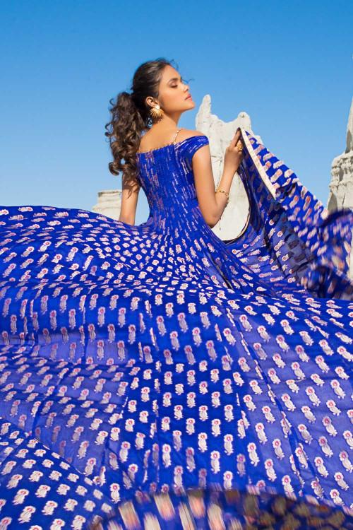 Gul Ahmed 3 Piece Custom Stitched Suit - Blue - LB16809