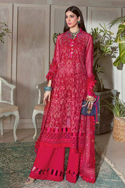 Gul Ahmed 3 Piece Custom Stitched Suit - Red - LB16811