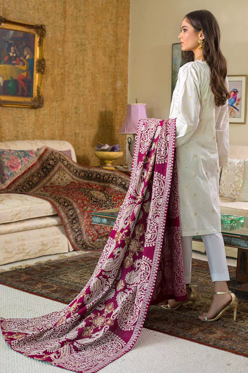 Gul Ahmed 3 Piece Custom Stitched Suit - White - LB16813