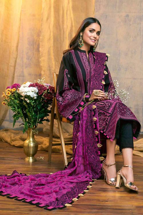 Gul Ahmed 3 Piece Custom Stitched Suit - Black - LB16815