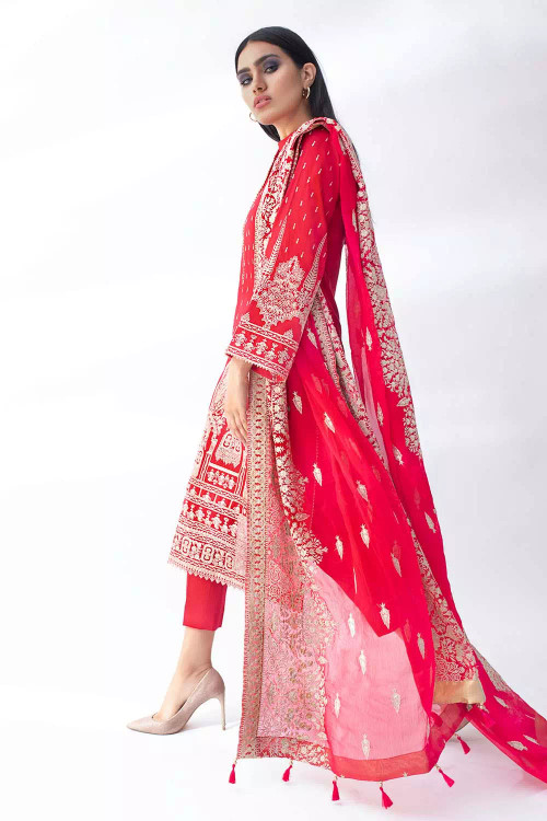 Gul Ahmed 3 Piece Custom Stitched Suit - Red - LB16816
