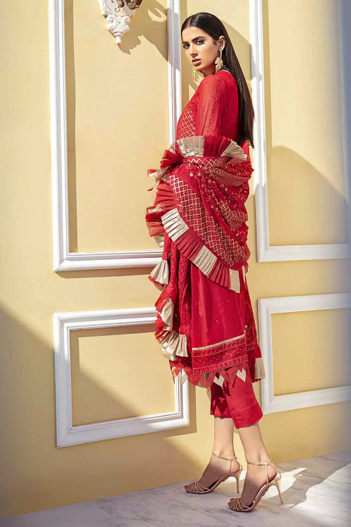 Gul Ahmed 3 Piece Custom Stitched Suit - Red - LB16819