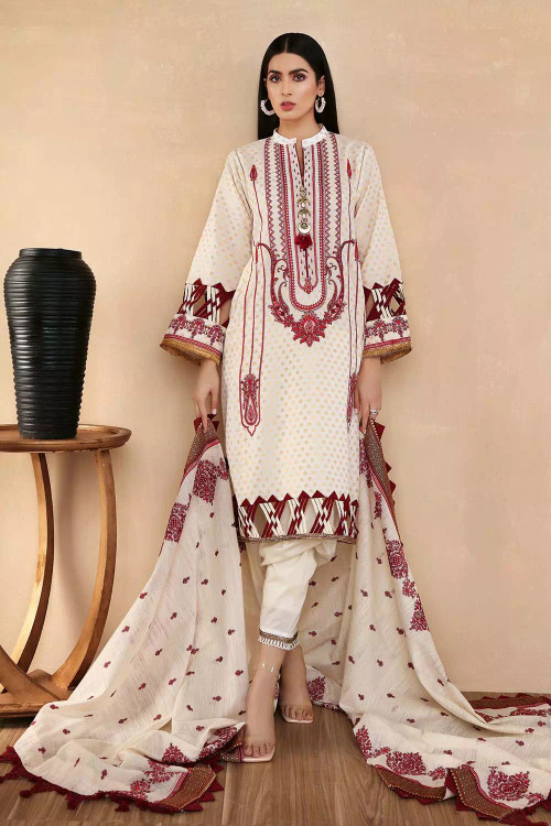 Gul Ahmed 3 Piece Custom Stitched Suit - Off-White - LB16821