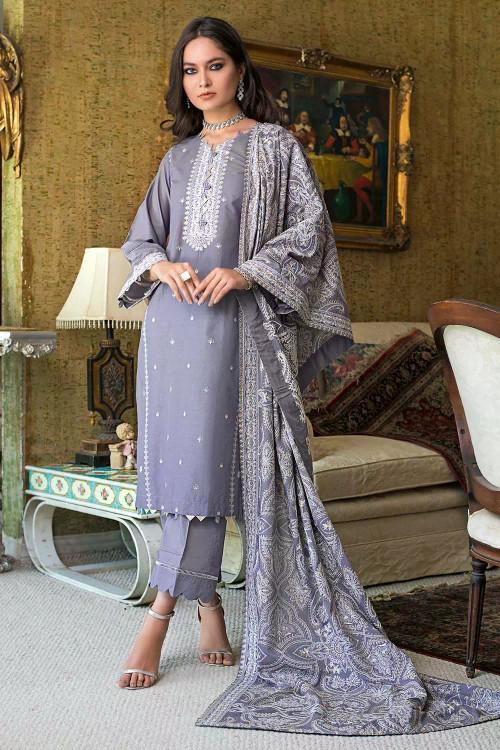 Gul Ahmed 3 Piece Custom Stitched Suit - Grey - LB16824