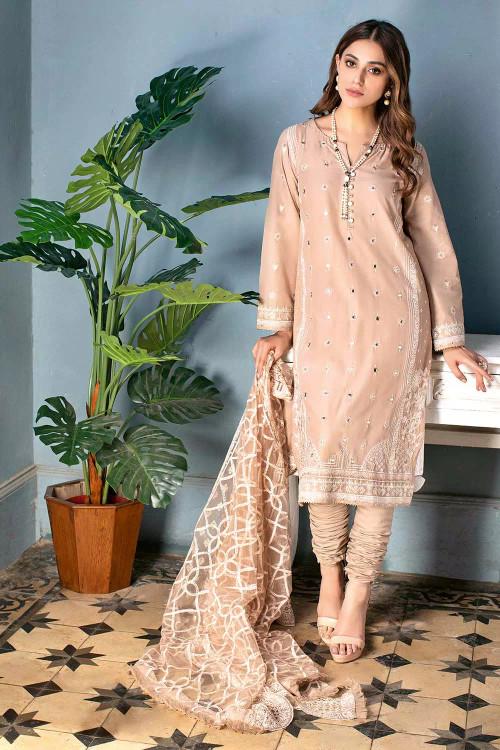 Gul Ahmed 3 Piece Custom Stitched Suit - Beige - LB16827