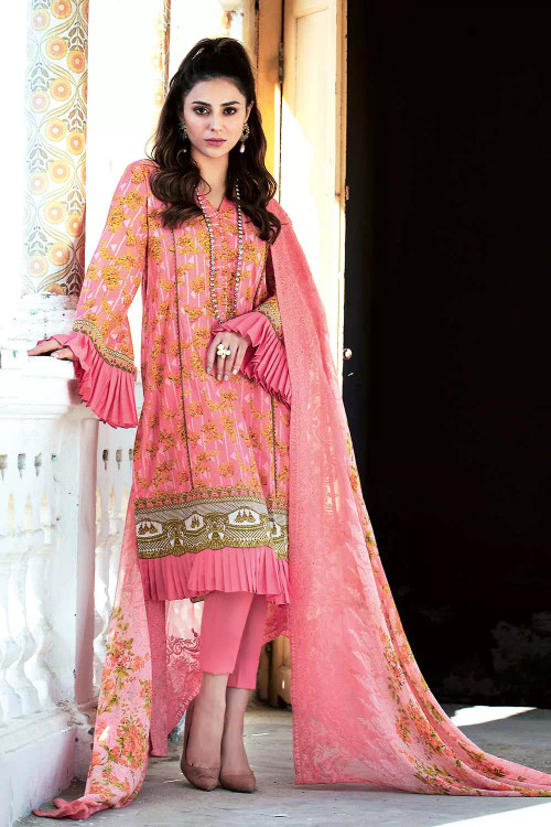 Gul Ahmed 3 Piece Custom Stitched Suit - pink - LB16828