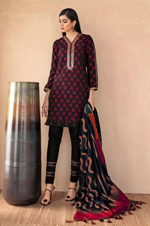 Gul Ahmed 3 Piece Custom Stitched Suit - Black - LB16829