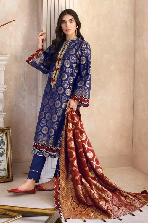 Gul Ahmed 3 Piece Custom Stitched Suit - Blue - LB16830