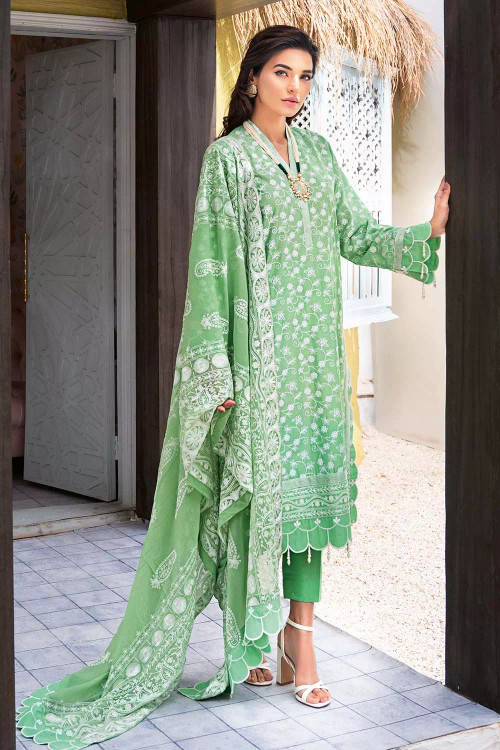 Gul Ahmed 3 Piece Custom Stitched Suit - Green - LB16832