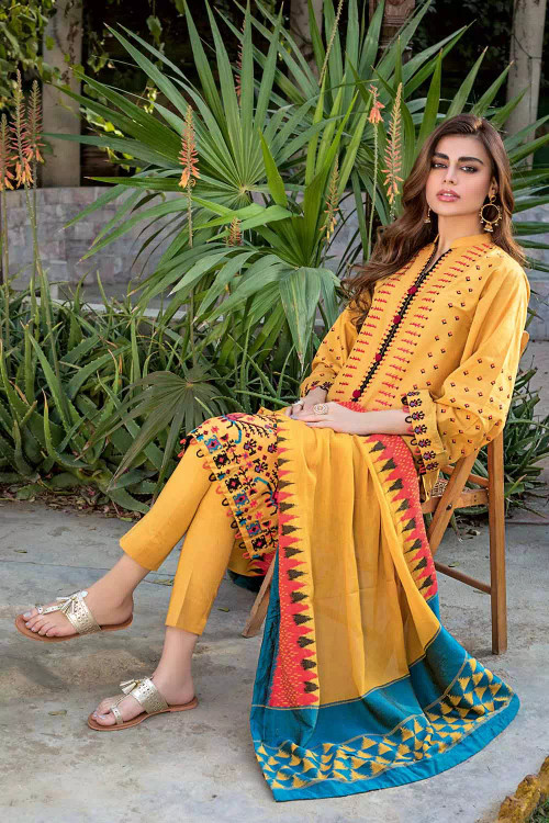 Gul Ahmed 3 Piece Custom Stitched Suit - Yellow - LB16834
