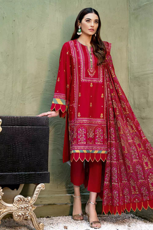 Gul Ahmed 3 Piece Custom Stitched Suit - Red - LB16835