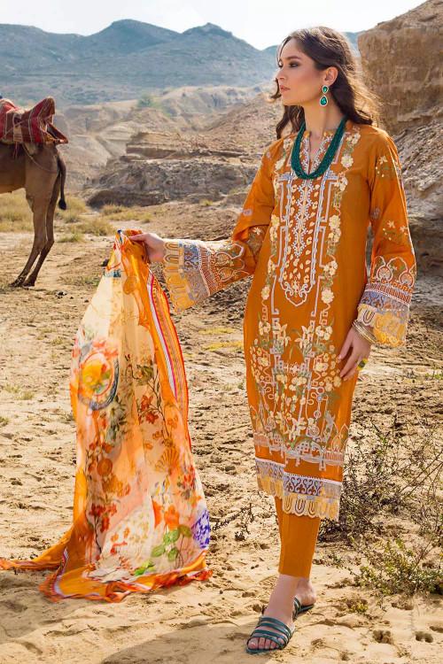Gul Ahmed 3 Piece Custom Stitched Suit - Orange - LB16838