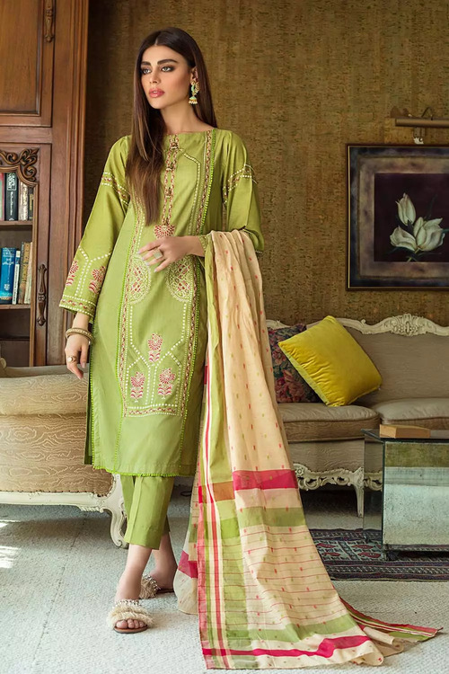 Gul Ahmed 3 Piece Custom Stitched Suit - Green - LB16839