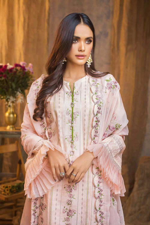 Gul Ahmed 3 Piece Custom Stitched Suit - pink - LB16840