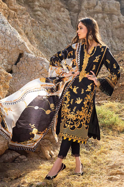 Gul Ahmed 3 Piece Custom Stitched Suit - Black - LB16842