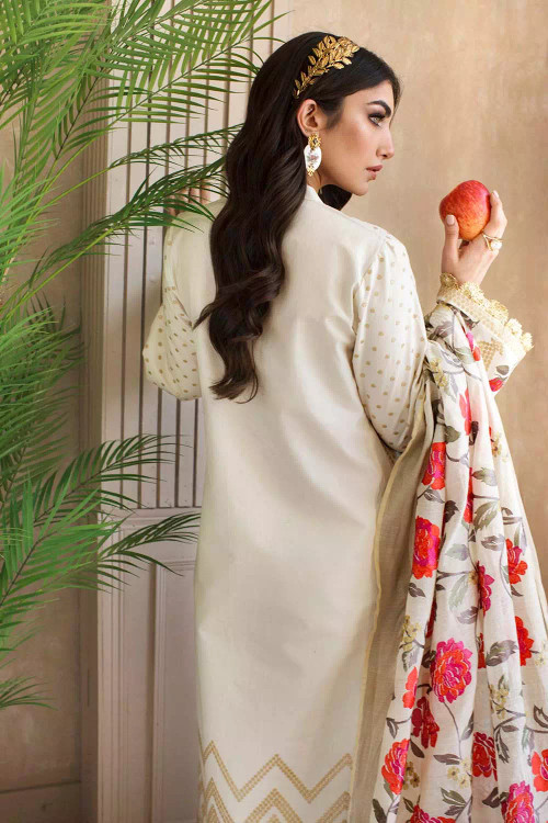 Gul Ahmed 3 Piece Custom Stitched Suit - Off-White - LB16848