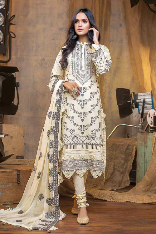 Gul Ahmed 3 Piece Custom Stitched Suit - Off-White - LB16850