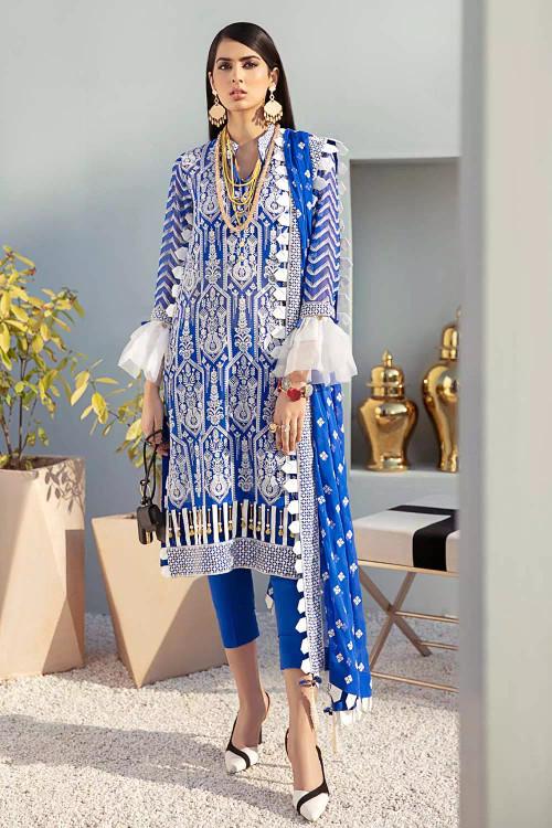 Gul Ahmed 3 Piece Custom Stitched Suit - Blue - LB16851