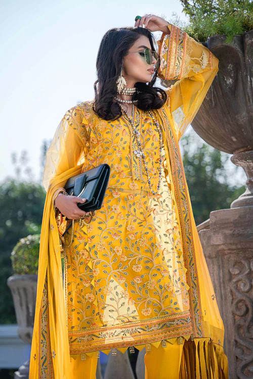 Gul Ahmed 3 Piece Custom Stitched Suit - Yellow - LB16852