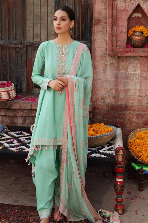 Gul Ahmed 3 Piece Custom Stitched Suit - Blue - LB16853