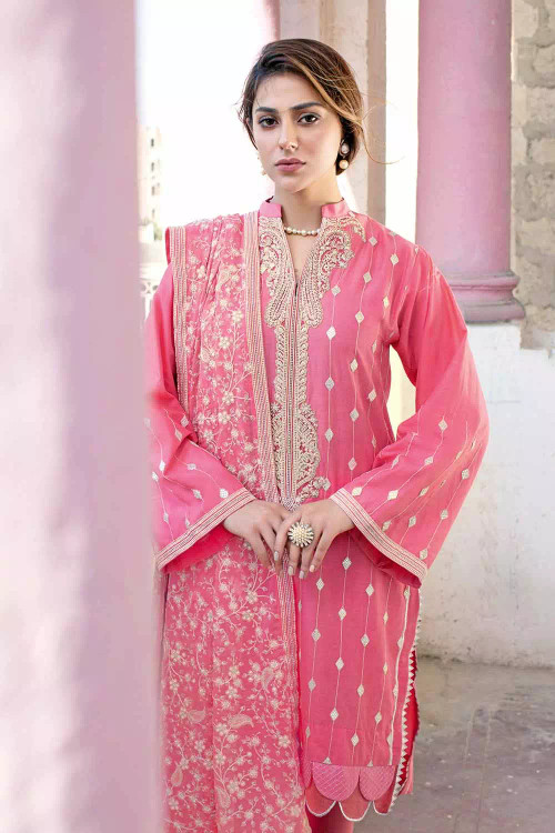Gul Ahmed 3 Piece Custom Stitched Suit - pink - LB16854