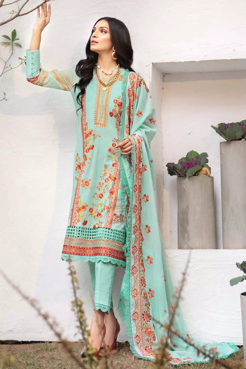 Gul Ahmed 3 Piece Custom Stitched Suit - Green - LB16855