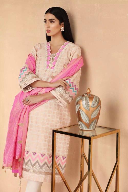 Gul Ahmed 3 Piece Custom Stitched Suit - Beige - LB16856