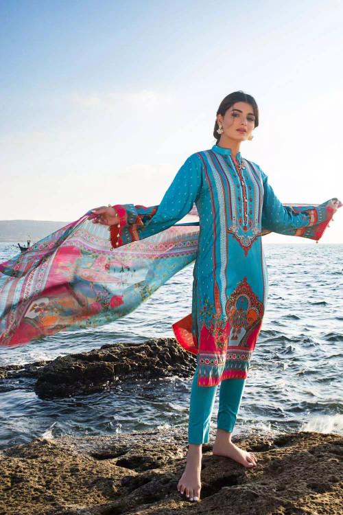 Gul Ahmed 3 Piece Custom Stitched Suit - Blue - LB16857