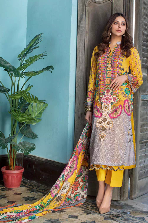 Gul Ahmed 3 Piece Custom Stitched Suit - Yellow - LB16858