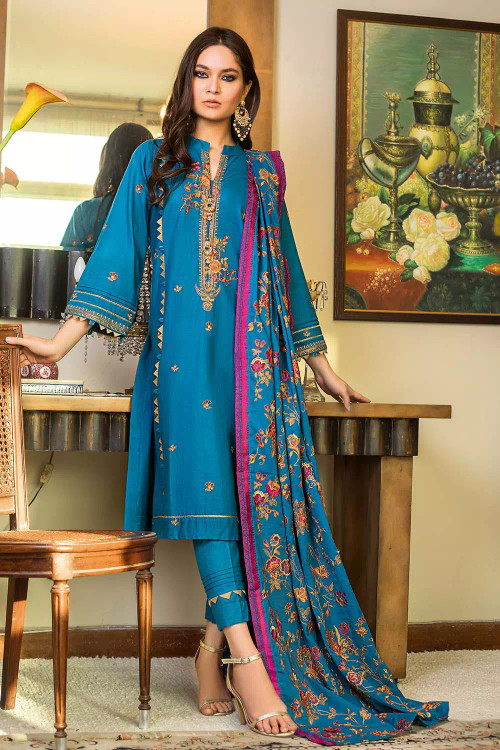 Gul Ahmed 3 Piece Custom Stitched Suit - Blue - LB16861