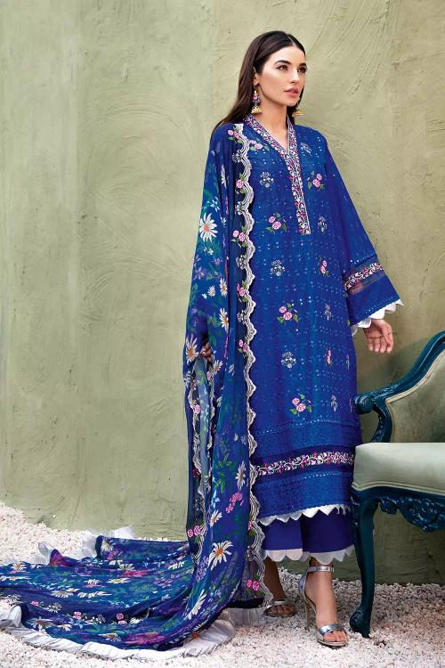 Gul Ahmed 3 Piece Custom Stitched Suit - Blue - LB16864