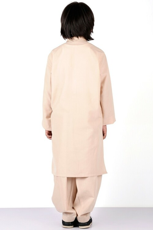Ready to Wear Embroidered Kurta Shalwar For Boys - Brown - LB1589