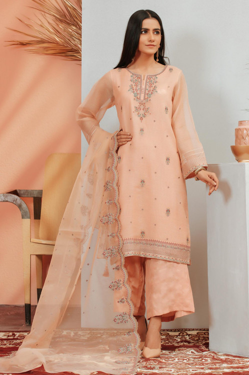 Zeen 3 Piece Custom Stitched Suit - Pink - LB16915