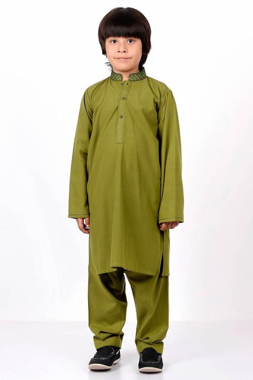 Ready to Wear Embroidered Kurta Shalwar For Boys - Green - LB1592