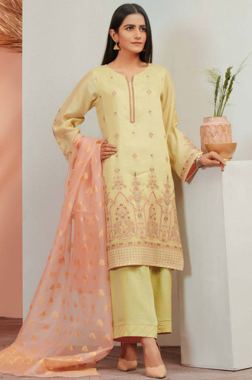 Zeen 3 Piece Custom Stitched Suit - Yellow - LB16917