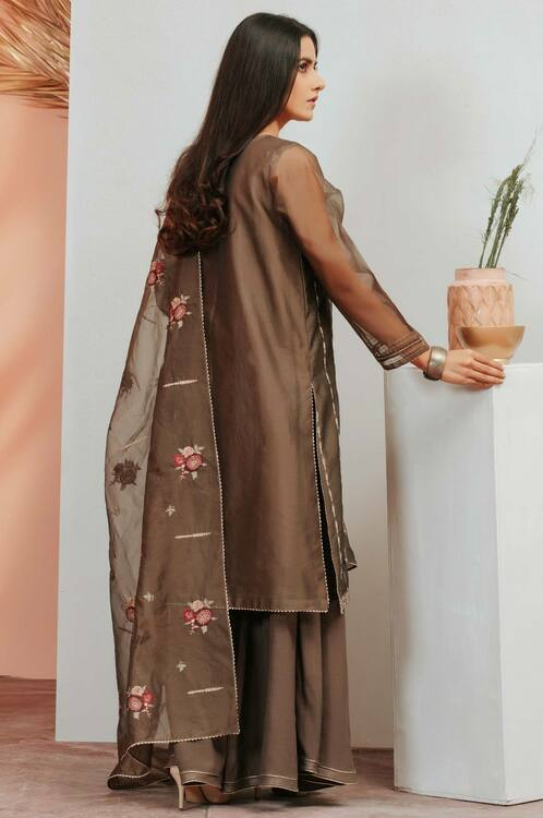 Zeen 3 Piece Custom Stitched Suit - Brown - LB16919