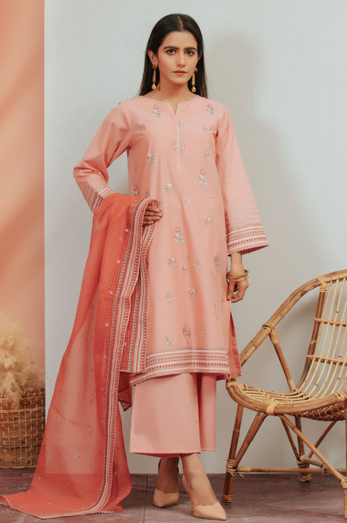 Zeen 3 Piece Custom Stitched Suit - Pink - LB16924
