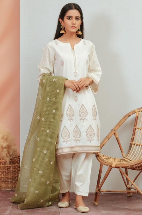 Zeen 3 Piece Custom Stitched Suit - White - LB16925
