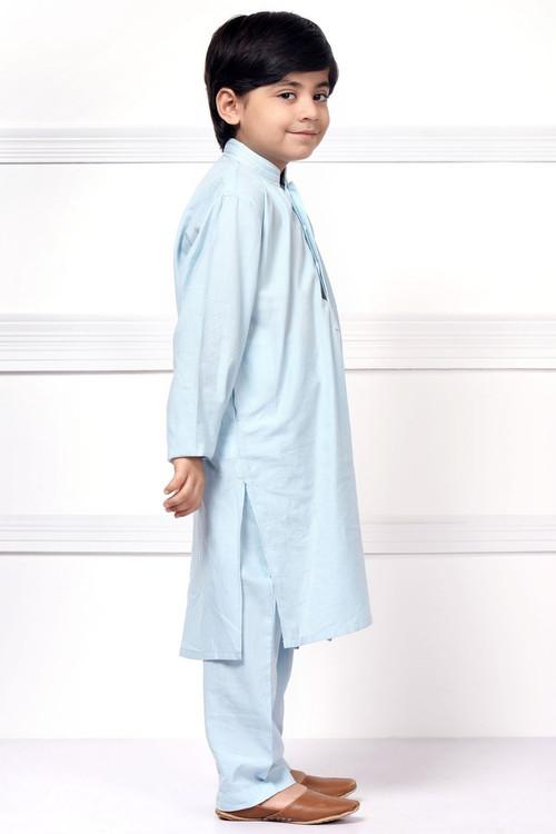 Ready to Wear Embroidered Kurta Pajama For Boys - Blue - LB1594