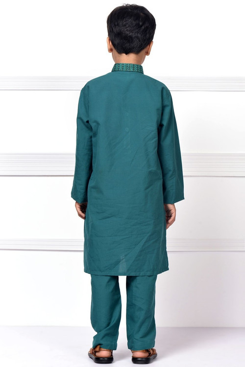 Ready to Wear Embroidered Kurta Pajama For Boys - Green - LB1595
