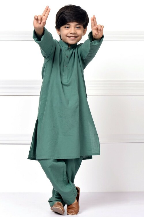 Ready to Wear Kurta Pajama For Boys - Green - LB1597