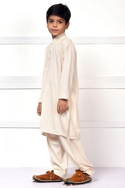 Ready to Wear Kurta Pajama For Boys - White - LB1599